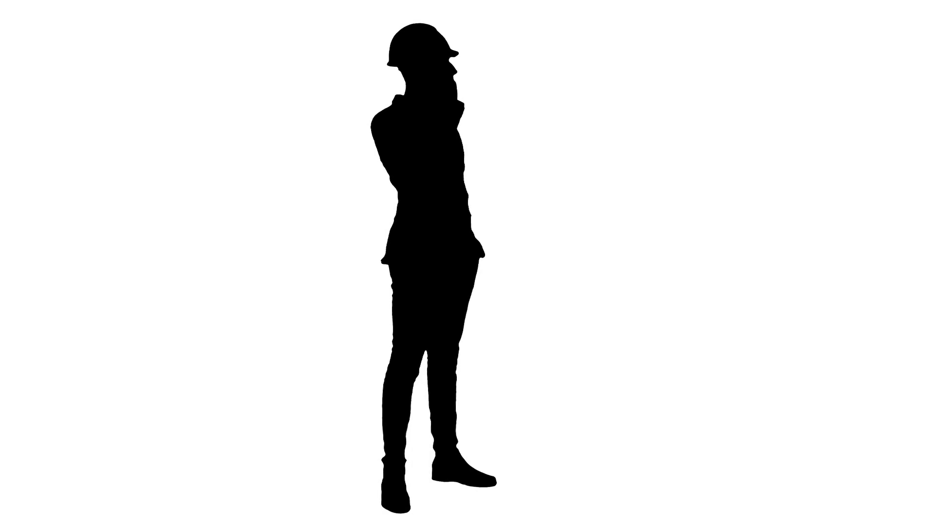 1920x1080 Silhouette Contractor In Hardhat Talking On Mobile Phone Stock