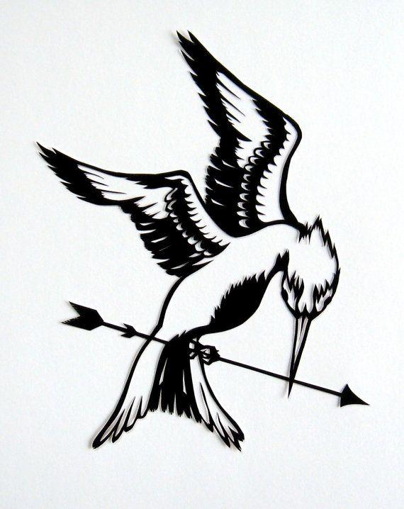 570x718 Mockingjay Silhouette Cut Paper Art Handmade By Arwendesigns