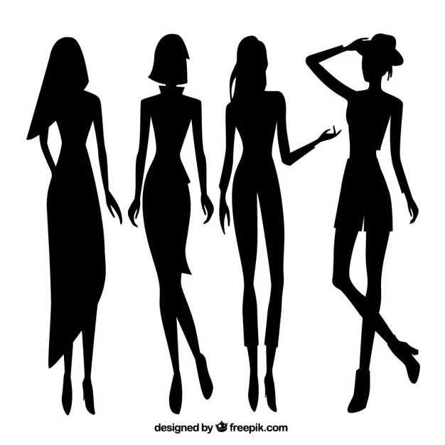626x626 Set Of Women Model Silhouettes Vector Free Download