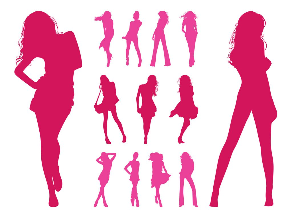 1024x765 Fashion Models Silhouettes Set Vector Art Amp Graphics