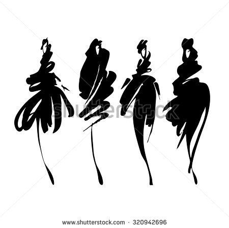 450x447 Fashion Models Sketch Hand Drawn , Stylized Silhouettes Isolated