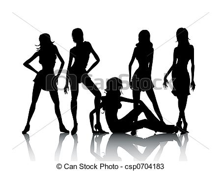 450x349 Models. Model Silhouettes With Reflection Against White