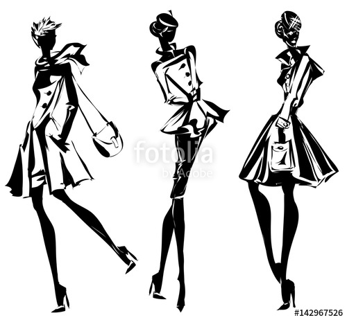 500x462 Black And White Retro Set, Fashion Models Silhouette Sketch Style