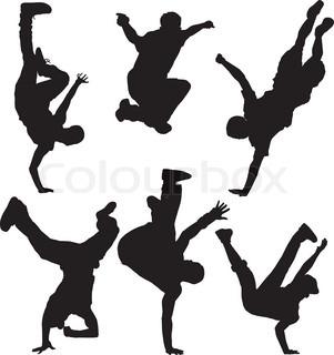 301x320 Modern Dancer Silhouettes, Art Vector Design Stock Vector