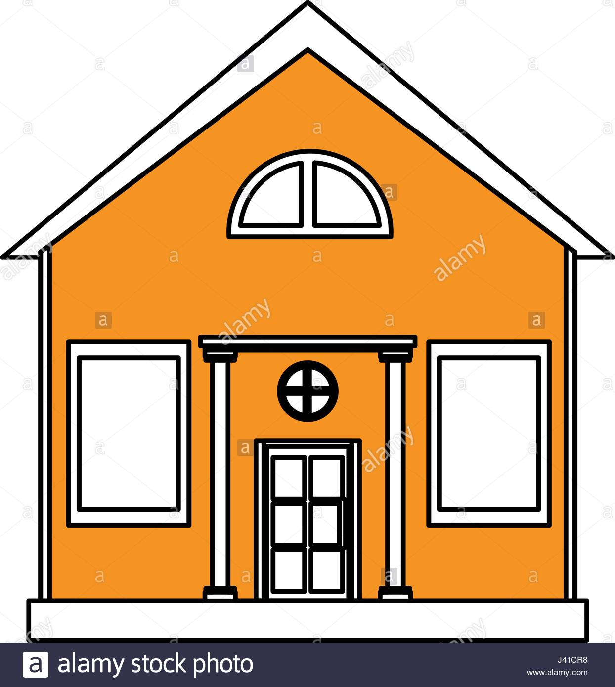 1244x1390 Color Silhouette Cartoon Yellow Facade Structure House With Modern