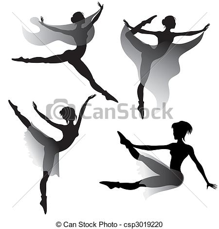 450x470 Set Of Ballet Dancers Silhouettes Dancing Modern Ballet Vector