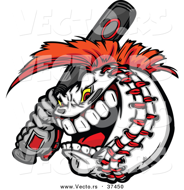 600x620 Vector Of Competitiveggressive Batting Baseball Mascot