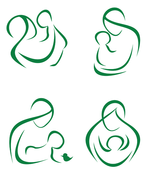 500x608 Mother And Baby Line Silhouette Vector Free Vector 4vector