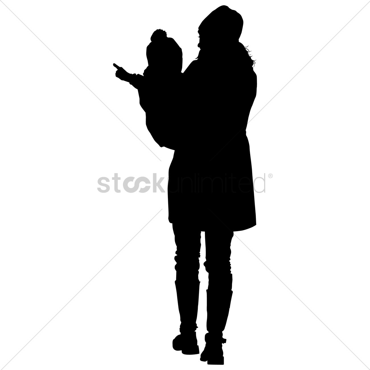 1300x1300 Silhouette Of A Mother And Son Vector Image