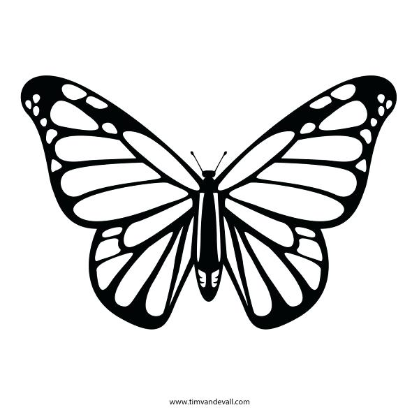 600x600 Free Butterfly Stencil Monarch Butterfly Outline And Silhouette