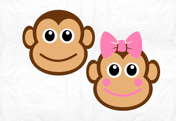 570x392 Monkey Face Svg Clipart Cut Files Silhouette Cameo Svg
