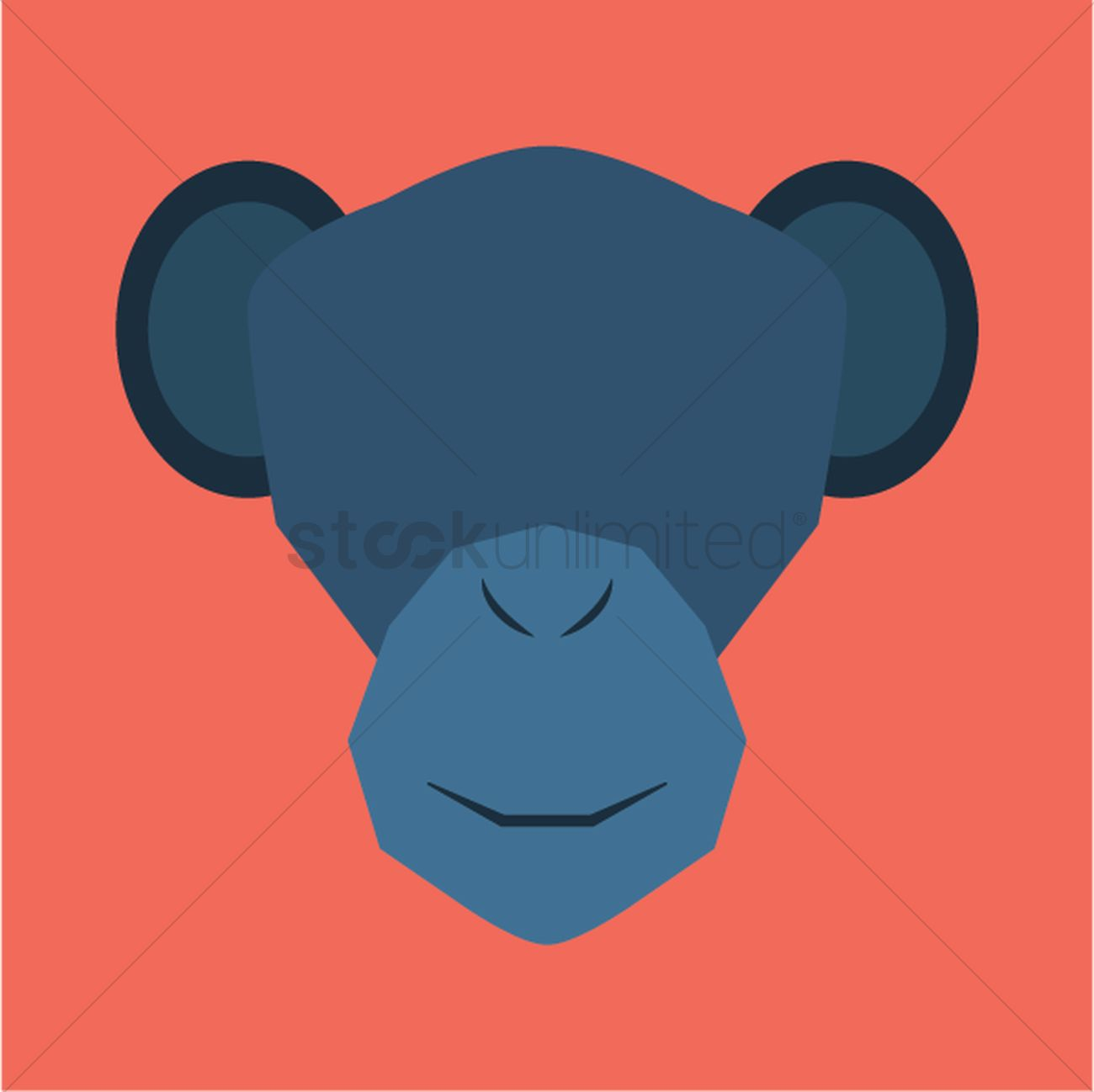 1300x1298 Silhouette Of Monkey Face Vector Image