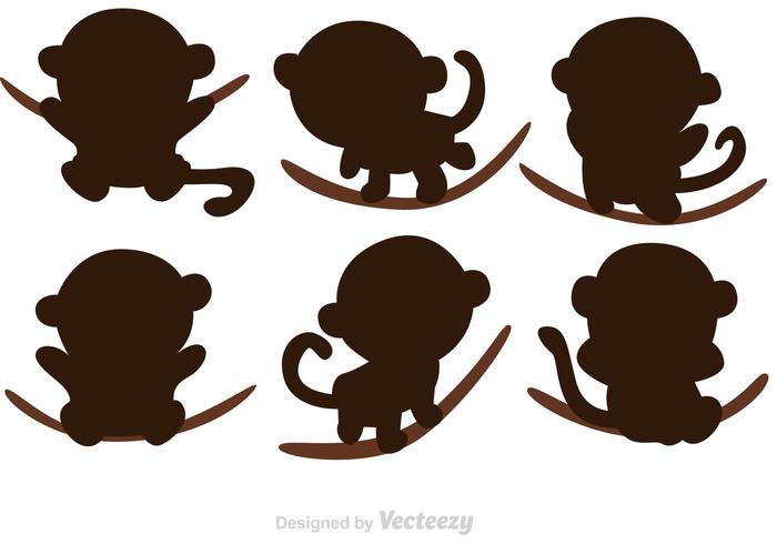 700x490 Cartoon Monkey Silhouette Vectors