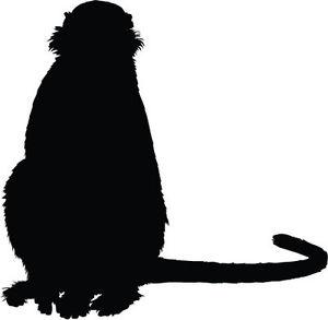 300x293 Sitting Monkey Silhouette Vinyl Sticker Car Bumper Sticker