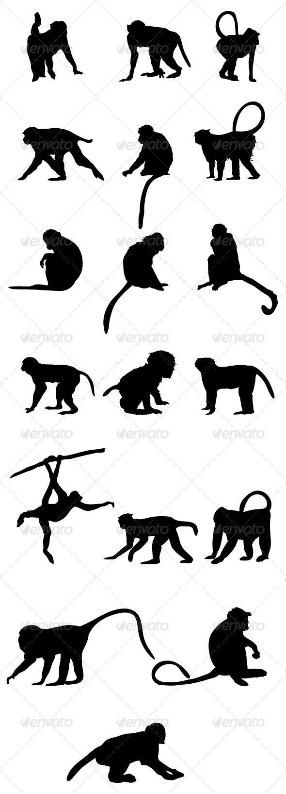 590x1635 Monkey Silhouettes Monkey, Tattoo And Silhouettes