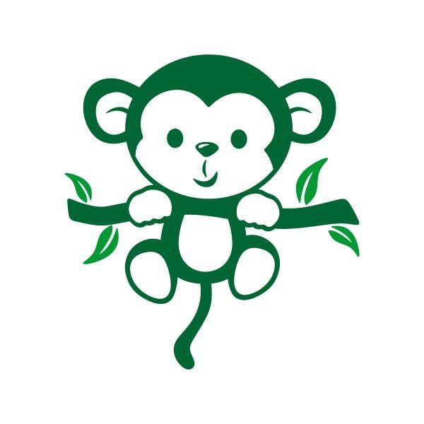 600x600 Little Monkey Cuttable Design Cut File. Vector, Clipart, Digital