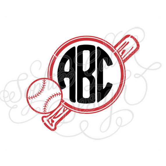 570x570 Ball Amp Bat Baseball Monogram Svg, Dxf Digital Download Files