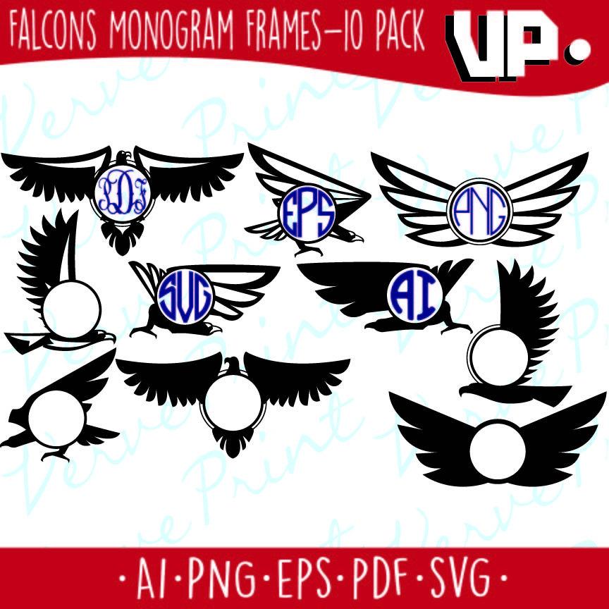 864x864 Falcons Monogram Frame Svg Monogram Frames Svg, Ai, Eps, Pdf, Png