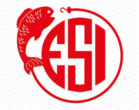 571x450 Fish And Fish Hook Circle Monogram Design Svg Dxf Eps