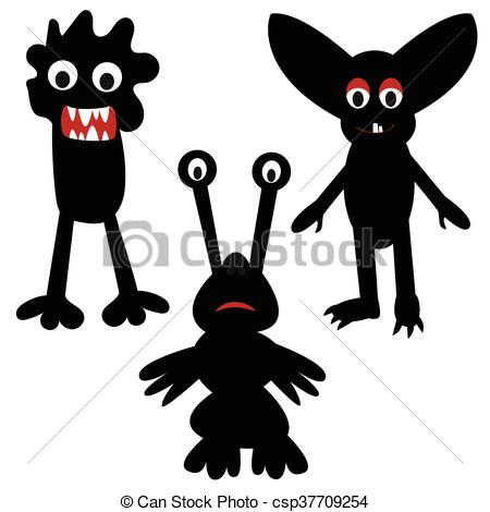450x470 Funny Monsters Painted Black, Silhouette, Pretty, Simple Clipart