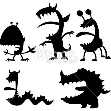 380x380 Humourous Monster Silhouettes. Vector Art, Royalty And Monsters
