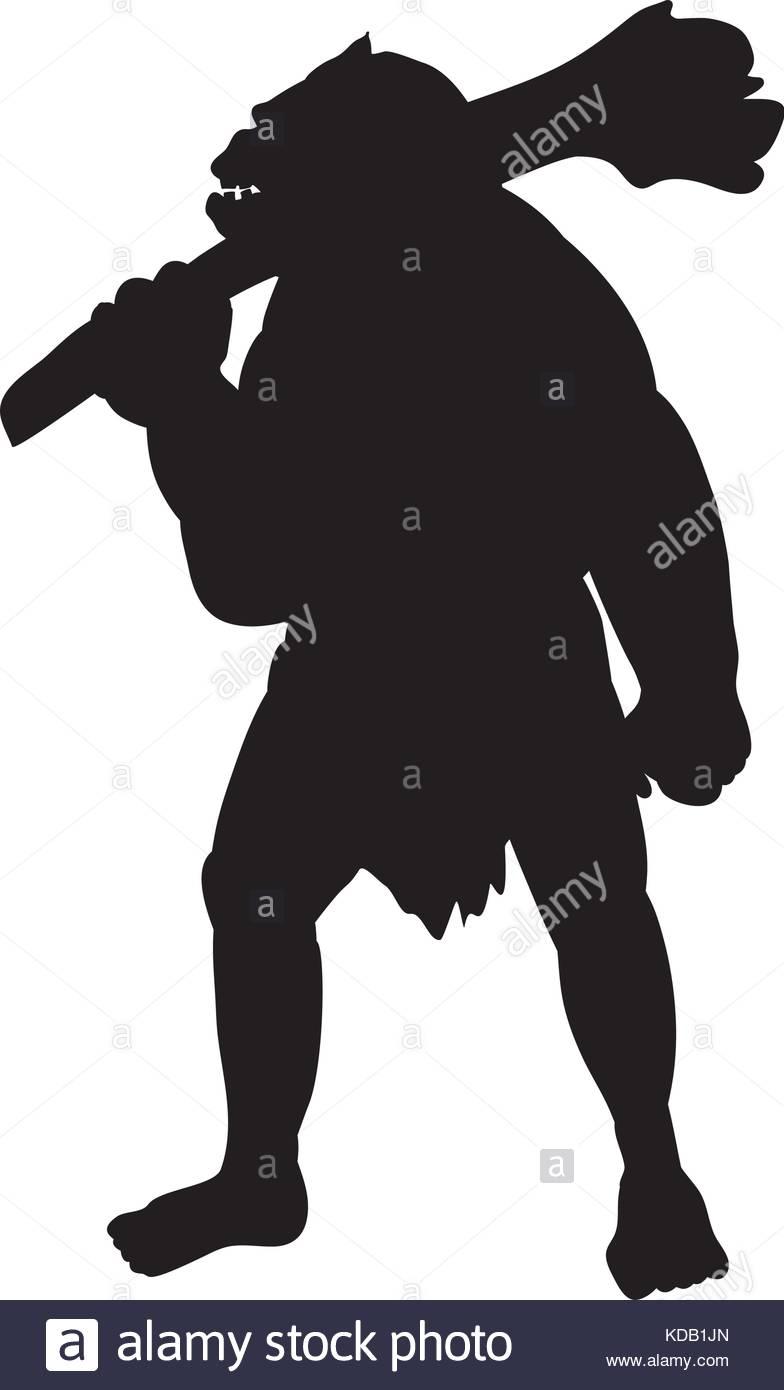 784x1390 Ogre Silhouette Monster Villain Fantasy. Vector Illustration Stock