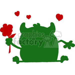 300x300 Royalty Free Green Monster Silhouette With Hearts Holding A Flower