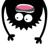 160x160 Two Screaming Monster Head Silhouette Set. Hands Holding Boo Text