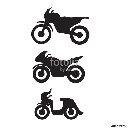 500x500 Motorbike Motorcycle Symbols In Black Silhouette Stock Image