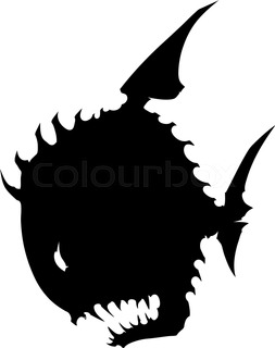 253x320 Black Graphic Angry Silhouette Monster Fish On White Background
