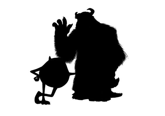 564x397 Svg Disney Monster Inc Sully Mike Monster Silhouette