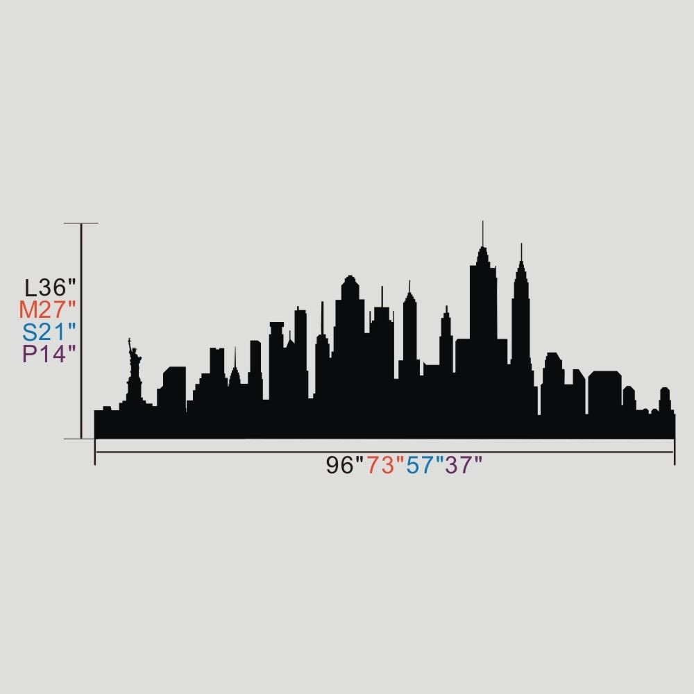 1000x1000 Poomoo Wall Decals New York City Skyline Silhouette Wall Sticker