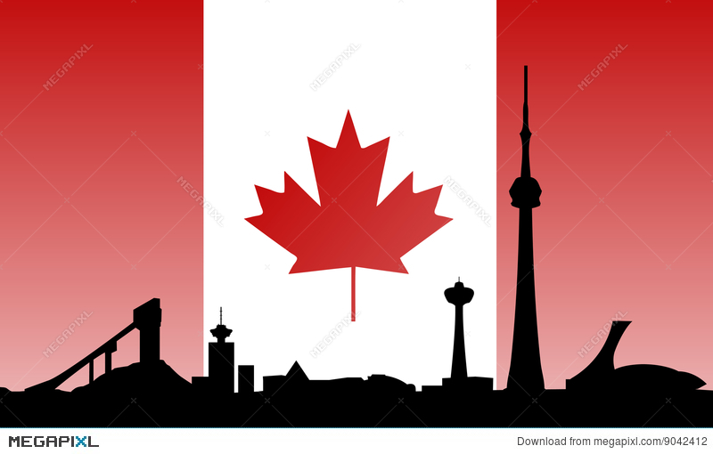 800x510 Canada Landmarks Skyline And Flag Illustration 9042412