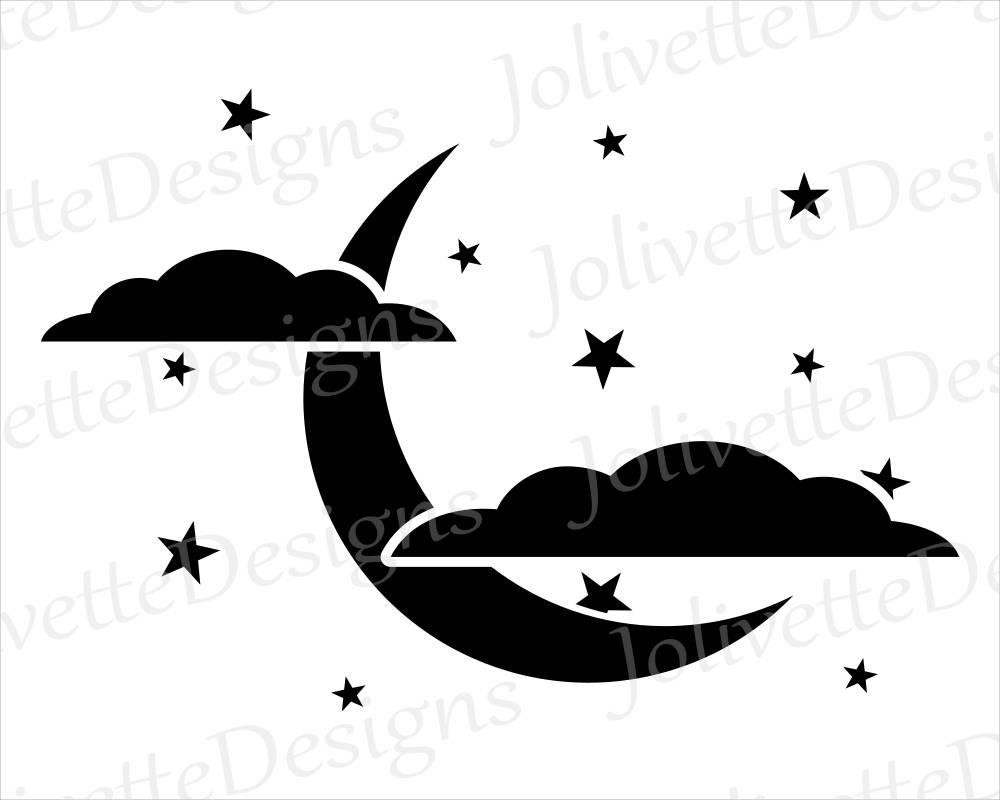 1000x800 Crescent Moon, Clouds, Stars, Night, Sky, Clip Art, Clipart
