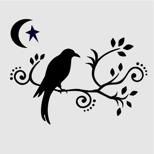 500x500 Crow Primitive Stencil Scrolls Branches Templates Moon Star Stars