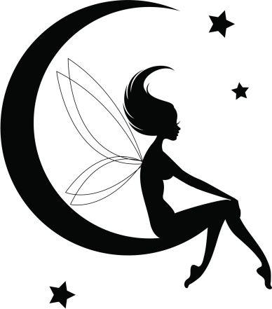 388x441 Fairy Moon Silhouette