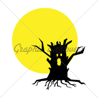 325x325 Dear Tree Silhouette With Full Moon Gl Stock Images