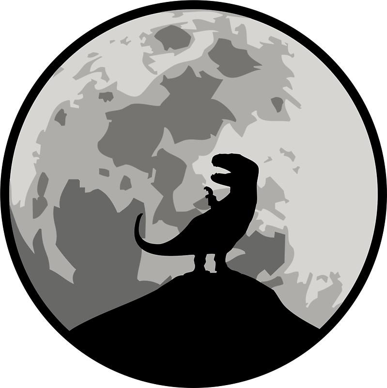 799x800 Dinosaur Moon Silhouette