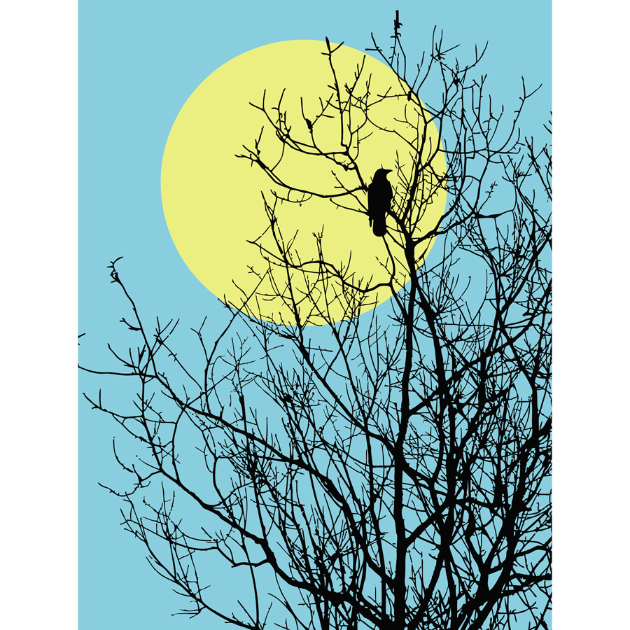 900x900 Moon And Tree Silhouette