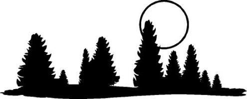 495x200 Pine Trees With Moon Decal