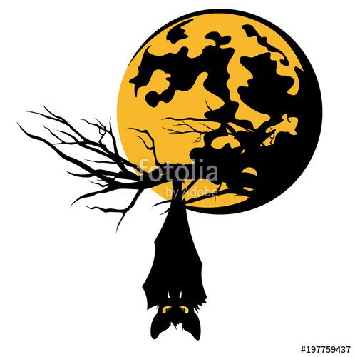 498x500 Bat Hanging On Tree Branch Against Full Moon