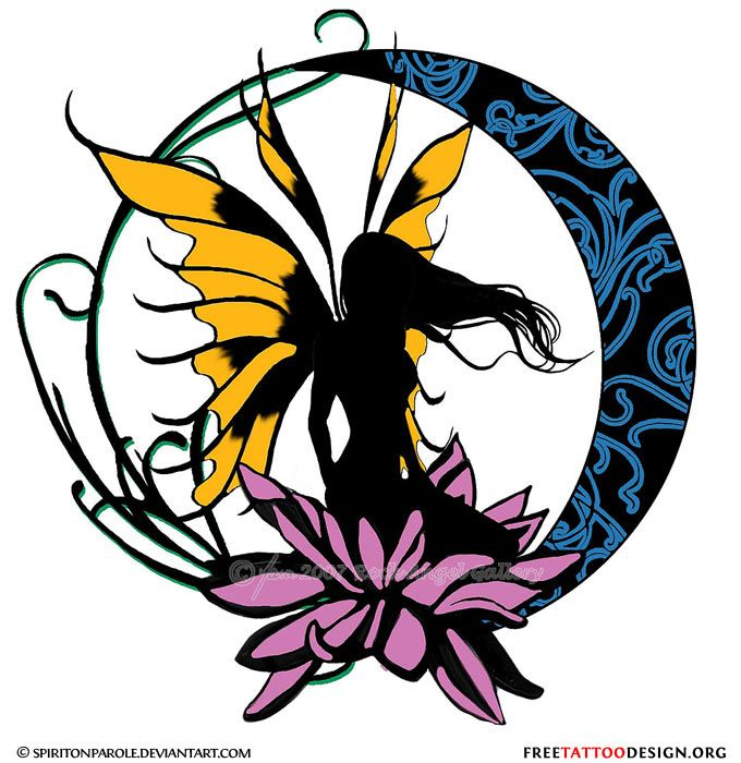 680x700 Fairy And Moon Silhouette Tattoo Design Clothes I Want