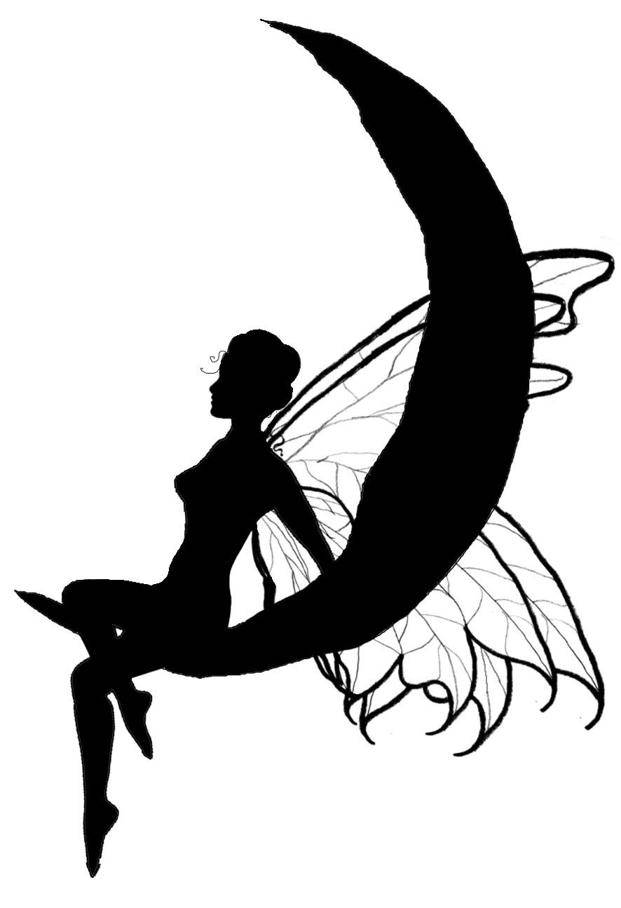 886x1295 Silhouette Fairy On Moon Graphics Silhouettes