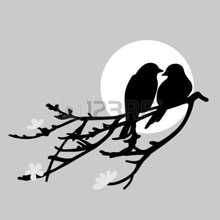 450x450 Deux Oiseaux Est Assis Sur Une Branche Banque D'Images