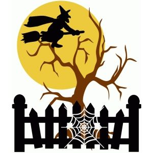300x300 Silhouette Design Store Witch With Moon And Tree Halloween Free