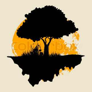 320x320 Vector Big Yellow Moon And Silhouettes Of Trees Stock Vector