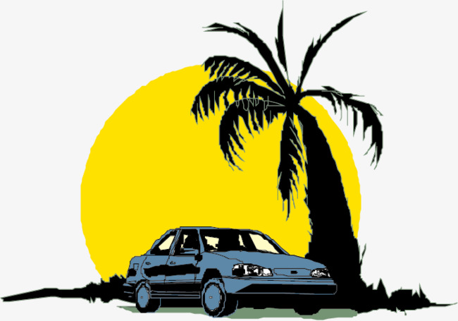 650x455 Vehicles Material Picture, Coconut Trees Silhouette, Moon, Car Png