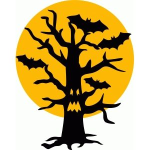 300x300 Bats Tree Moon Halloween Silhouette Design, Bats And Silhouettes