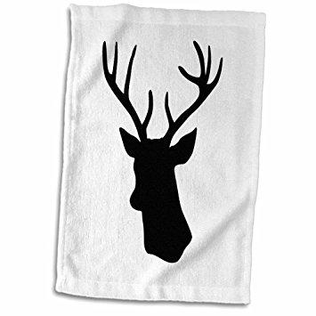 355x355 3d Rose Black Deer Head Silhouette On White. Modern