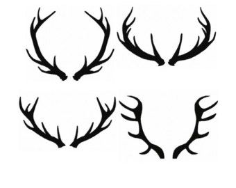 340x270 Set 4 Silhouette Buck Antlers Fill Machine Embroidery Design No